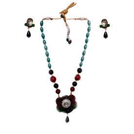 Pink Rose - Rajasthani Meena kari mayur necklace set