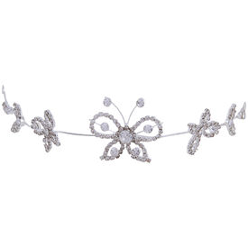 Pink Rose - Complement Collection White Alloy Stone Butterfly Charm Bridal Hair Tiara For Women