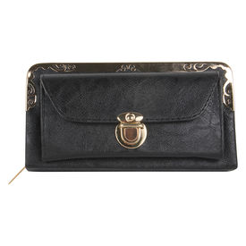Pink Rose - Complement Collection Black Elegant Wallet For Women/Girls, 21x11x7, black, pu
