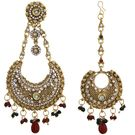 Pink Rose - Complement Collection Maroon Green Gold American Diamond Stone Copper Royal Charm Pasha And Maang Tikka Set For Women (Head Gear)