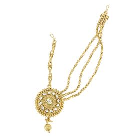 Pink Rose - Complement Collection Gold Kundan Alloy Matha Patti (For Left Side) For Women, 15cm, gold, alloy