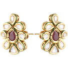 Pink Rose - Complement Collection Maroon White Gold Kundan Copper Princess Love Studs For Women