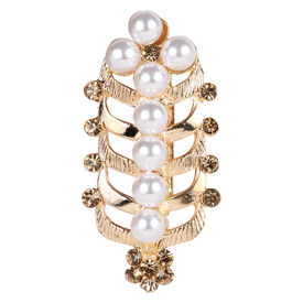 Pink Rose - Bridal Collection Gold Alloy Stone Pearl Sari Pin For Women, alloy, gold, 5