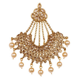 Pink Rose - Bridal Collection Gold Polki Stone Pearl Copper Pasha/Jhoomer For Women/Girls, 9, gold, copper