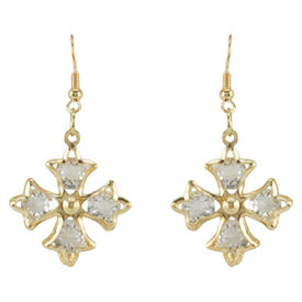 Pink Rose - Complement Collection Gold Stone Alloy Cross Earrings For Women, 6cm, gold, alloy