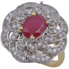 Pink Rose - Complement Collection Ruby White American Diamond Alloy Elegant Ring For Women