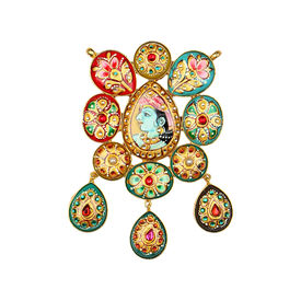 Pink Rose - Designer Collection Multicolour Druzy Multi Stone Krishan Tanjore Painting Copper Pendant For Women, 11, multicolour, druzy stone/copper