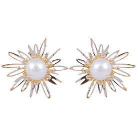Pink Rose - Complement Collection Gold Pearl Alloy Floral Studs For Women