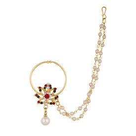Pink Rose - Complement Collection Multicolour Pearl Stone Alloy Charm Single Strand Nose Ring For Women, 15, multicolour, alloy