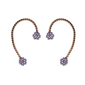 Pink Rose - Complement Collection Golden Royal Metal Zircon Earcuffs For Women