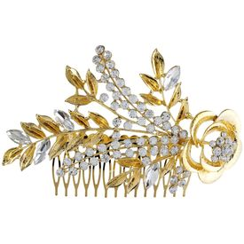 Pink Rose - Complement Collection Gold Stone Alloy Princess Charm Hair Pin For Women (Head Gear)