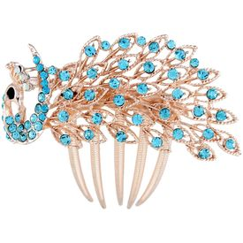 Pink Rose - Complement Collection Blue Alloy Stone Mayur Charm Hair Comb For Women