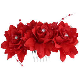 Pink Rose - Complement Collection Red Fabric Rose Charm Hair Comb For Women