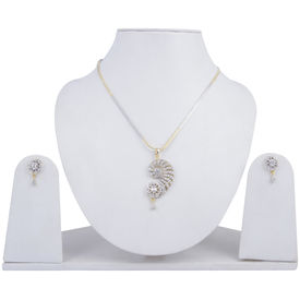 Pink Rose - Complement Collection White American Diamond Alloy Charm Pendant Set For Women