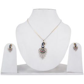 Pink Rose - Complement Collection Multicolour American Diamond Alloy Fascinating Mayur Pendant Set For Women