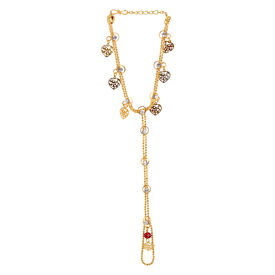 Pink Rose - Complement Collection Multicolour Stone Alloy Haath Phool For Women/Girls, alloy, 15, gold