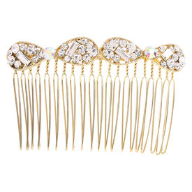 Pink Rose - Complement Collection Gold Alloy Stone Charm Hair Comb For Women, 7, gold, alloy