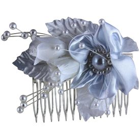 Pink Rose - Complement Collection White Fabric Rose Charm Hair Comb For Women