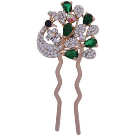 Pink Rose - Complement Collection Green White Alloy Stone Bridal Mayur Charm Hair Pin For Women (Head Gear/Juda Pin/Stick)