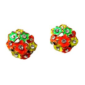 Pink Rose - Multicolour round Earrings