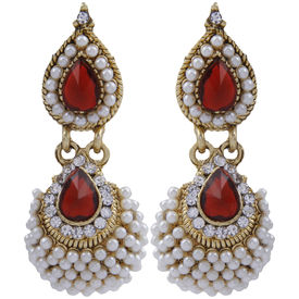 Pink Rose - Complement Collection Maroon White Alloy Dazzling Drops For Women