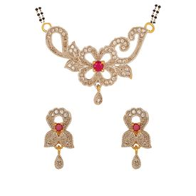 Pink Rose - Devine Collection Maroon White American Diamond Copper Double Chain MangalSutra Set For Women, 22, multicolour, copper
