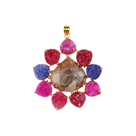 Pink Rose - Designer Collection Multicolour Druzy Multi Stone Heart Copper Pendant For Women, 9, multicolour, druzy stone/copper
