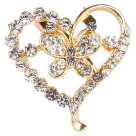 Pink Rose - Bridal Collection Gold Alloy Stone Heart Sari Pin For Women, alloy, gold, 4
