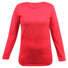 Pink Rose Women Full Sleeves Red Top, s, cotton, red