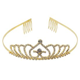 Pink Rose - Complement Collection Gold Alloy Stone Princess Charm Hair Crown Tiara For Women (Head Gear)