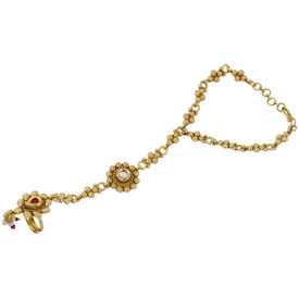 Pink Rose - Complement Collection Maroon Gold American Diamond Stone Copper Princess Charm Haath Phool For Women
