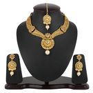 Pink Rose - Complement Collection Gold Alloy Kundan Pearl Royal Charm Necklace Set For Women, 22, gold, alloy