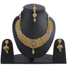 Pink Rose - Complement Collection Polki Style Gold Copper Princess Delight Necklace Set With Maank Tikka For Women