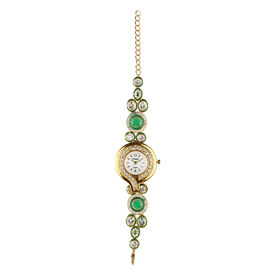 Pink Rose - Designer Collection Green Gold Kundan Bracelet With Analog Watch For Women, free, green/gold, kundan/copper