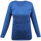 Pink Rose Women Full Sleeves Blue Top, s, cotton, dark blue