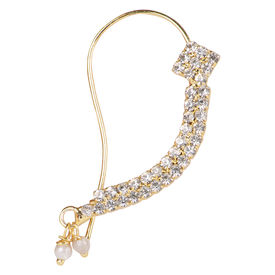 Pink Rose - Bridal Collection Gold Stone Pearl Alloy Nose Pin For Women, alloy, gold, 5