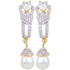 Pink Rose - Complement Collection American Diamond White Pearl Alloy Love Drops For Women