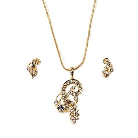 Pink Rose - Complement Collection Golden Dazzling Metal Necklace Set For Women