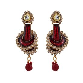 Pink Rose - Complement Collection Maroon Kundan Meenakari Copper Dazzling Drops For Women