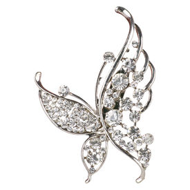 Pink Rose - Complement Collection Silver Alloy Stone Butterfly Sari Pin For Women, alloy, silver, 7