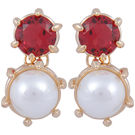 Pink Rose - Complement Collection Pink White Pearl Alloy Princess Charm Studs For Women