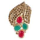 Pink Rose - Bridal Collection Multicolour Alloy Stone Pearl Sari Pin For Women, alloy, multicolour, 4