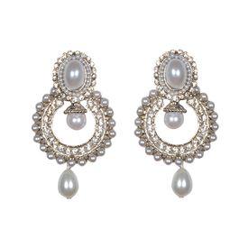 Pink Rose - Pearl silver dangle earrings