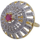 Pink Rose - Complement Collection Ruby American Diamond White Alloy Love Ring For Women