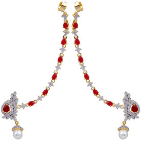Pink Rose - Complement Collection American Diamond Ruby White Pearl Alloy Love Earcuffs For Women