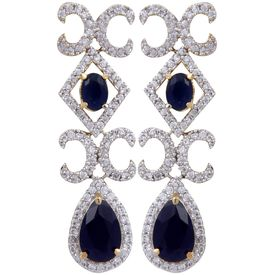 Pink Rose - Complement Collection American Diamond Blue White Alloy Love Drops For Women