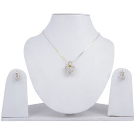 Pink Rose - Complement Collection White American Diamond Alloy Fascinating Heart Pendant Set For Women