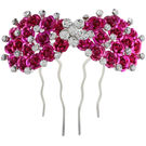 Pink Rose - Complement Collection Pink Stone Alloy Princess Rose Hair Pin For Women (Head Gear)
