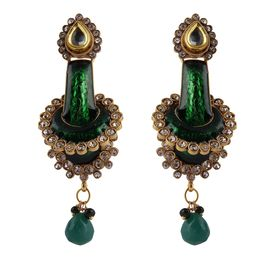 Pink Rose - Complement Collection Green Kundan Meenakari Copper Dazzling Drops For Women