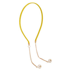 Pink Rose - Cool Collection Yellow Alloy Pearl Charm Hair Band For Women, 15, yellow, alloy